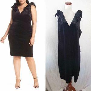 Chelsea28 BLACK Ruffle BOW Velvet PLUS SIZE DRESS